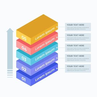 Infografía de capas tridimensionales