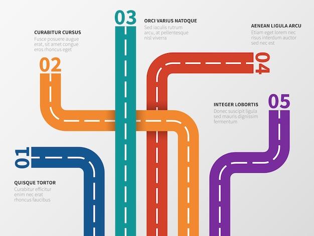 Infografía de carretera. diagrama de opciones, diagrama de proceso con pistas de calles de la ciudad.