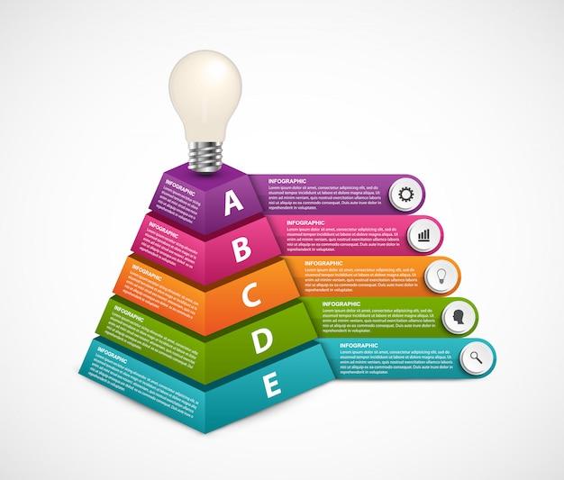 Infografía con cinco opciones y pirámide 3d en la parte superior con una bombilla.