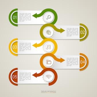 La infografía con cinco puntos suspensivos de cuadros de texto se puede utilizar para negocios, educación, plan, flujo de trabajo o diagramas de línea de tiempo