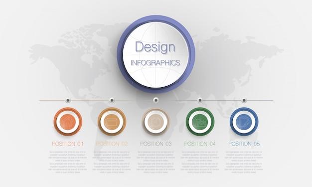 Infografía circular con 5 opciones