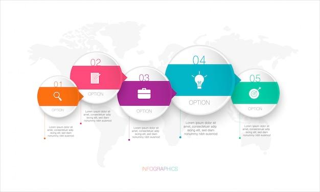 Infografía circular, la ilustración se puede utilizar para negocios con mapa mundial y opciones, pasos o procesos