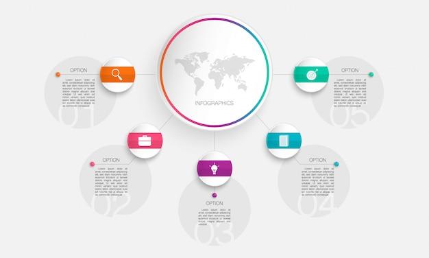 Infografía circular, la ilustración se puede utilizar para negocios, puesta en marcha, educación, plan, con pasos, opciones, partes