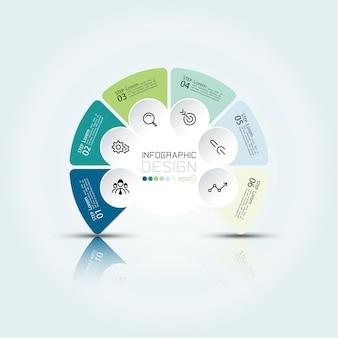 Infografía circular en seis opciones y tres dimensiones con reflejo de sombra.