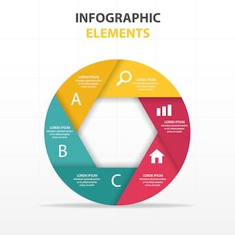 Infografía circular con seis secciones