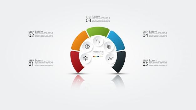 Infografía circular sobre cinco opciones y tres dimensiones con reflejo de sombra.