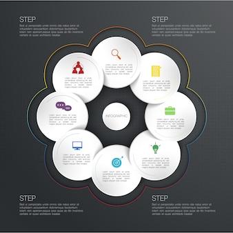 Infografía de círculo, ilustración con cuadro de texto de círculo