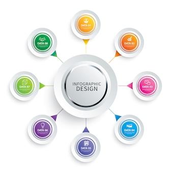 Infografía círculo papel con plantilla de 8 datos.