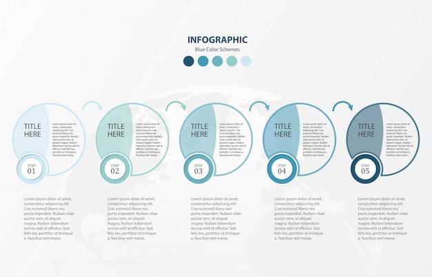 Infografía de círculos azules plantilla de 5 opciones.