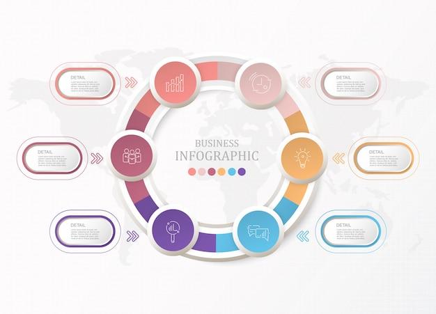 Infografía de círculos estándar y 6 procesos para el concepto de negocio.