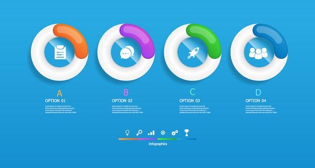Infografía de círculos horizontales 4 pasos ilustración vectorial
