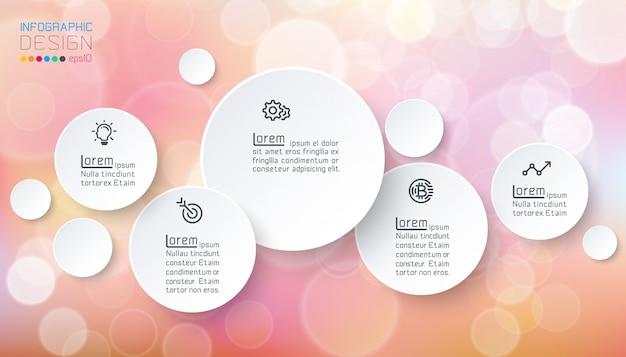 Infografía de círculos con jabón de burbujas.