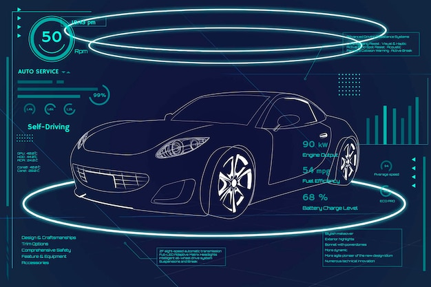 Infografía de coche deportivo de neón azul