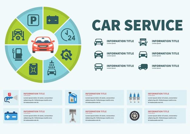 Infografía coche servicio ilustración vectorial.