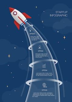 Infografía de cohete, ilustración con 4 opciones o pasos