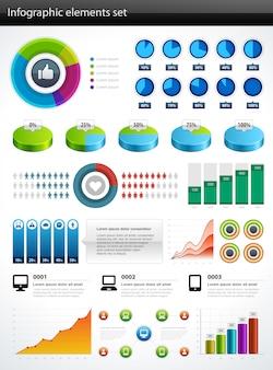 Infografía colección vector gráfico y tablas de diseño de elementos y conjunto de iconos de visualización de datos.