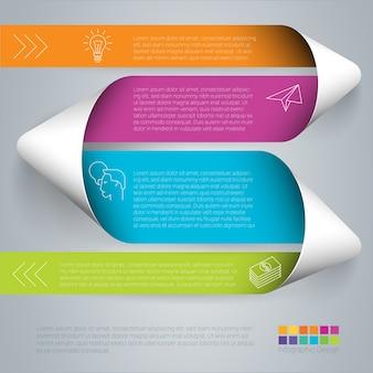 Infografía de color arco iris paso a paso plantilla de cinta doblada en papel.