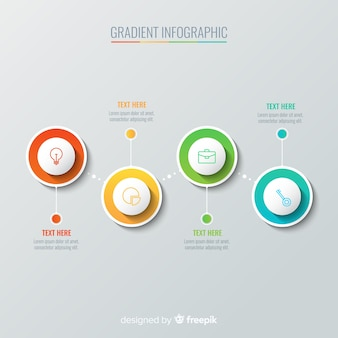Infografía en color degradado