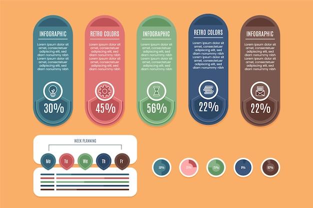 Infografía con colores retro.