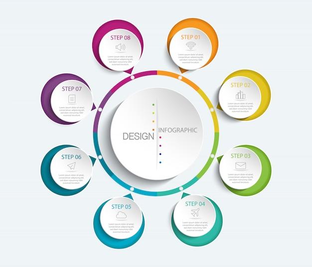 Infografía colorida con 8 opciones de círculo