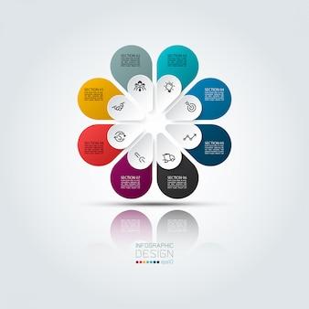 Infografía colorida 8 opciones con forma ovalada en círculo.