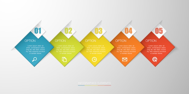 Infografía colorida con cuadro de texto sobre fondo gris para negocios, puesta en marcha o tecnología