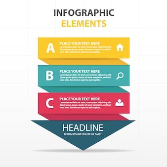 Infografía colorida con forma de flecha