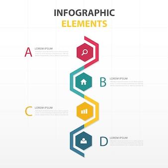 Infografía colorida con formas hexagonales