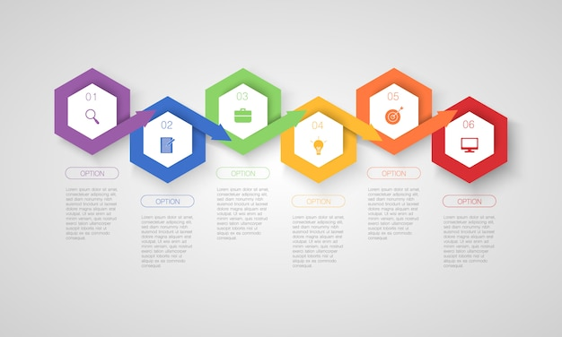 Infografía colorida, ilustración con pasos