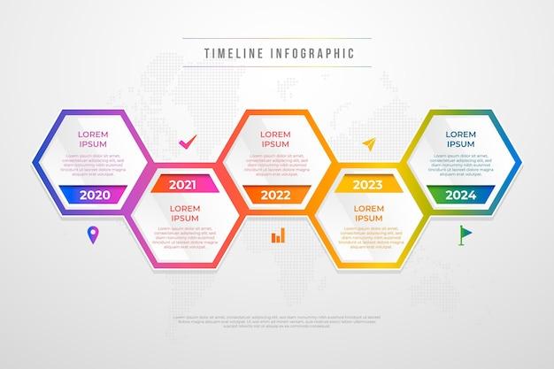 Infografía colorida línea de tiempo degradado
