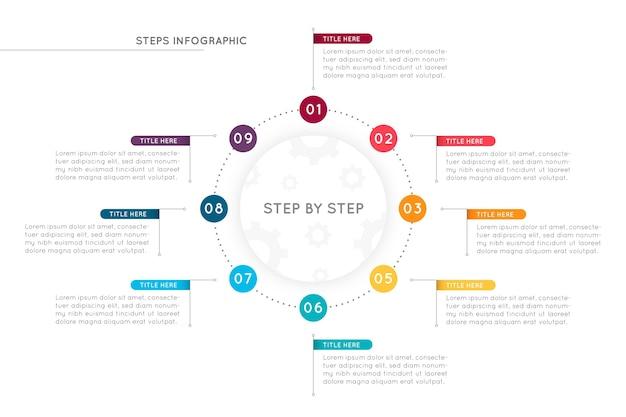 Infografía colorida de pasos planos