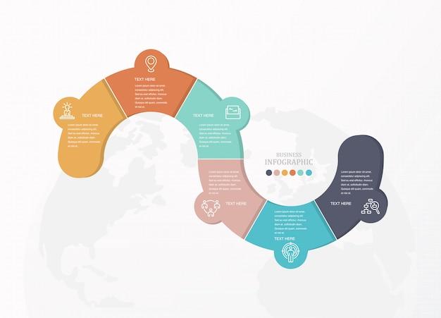Infografía colorido por concepto de negocio y los iconos.