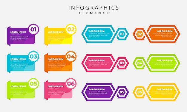Infografía colorido elementos tmeplate