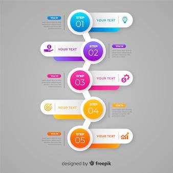 Infografía colorido escalones de diseño plano.