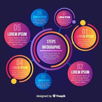 Infografía colorido plantilla de diseño de pasos