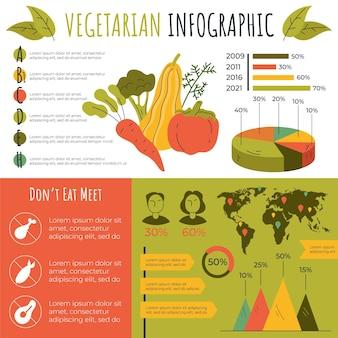 Infografía de comida vegetariana dibujada a mano