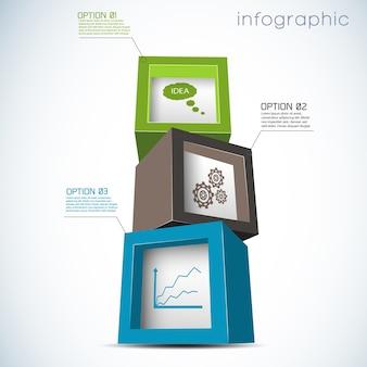 Infografía con composición de cubos con configuración de gráfico e idea sobre fondo blanco.