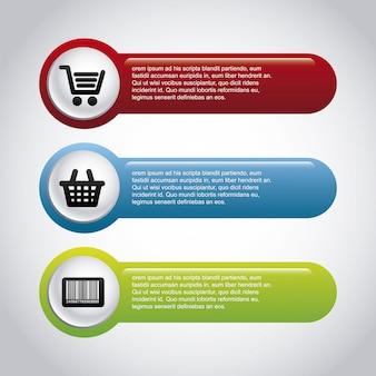 Infografía de compras sobre fondo gris