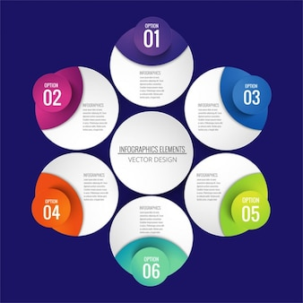 Infografía con formas circulares
