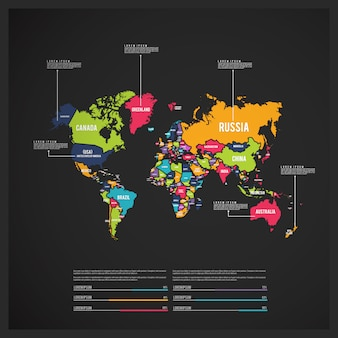 Infografía con mapa del mundo multicolor