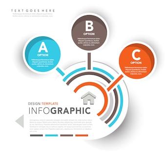 Infografía con tres plantilla de opción circular