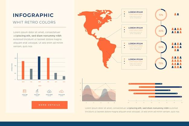 Infografía con concepto de colores retro
