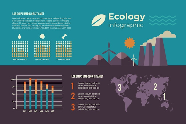 Infografía con concepto de ecología de colores retro
