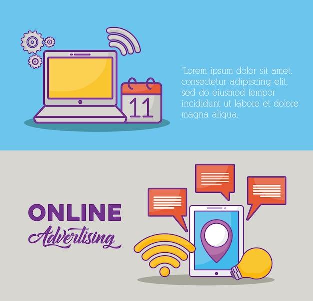 Infografía del concepto de marketing en línea