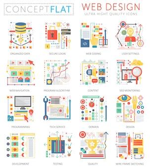 Infografía concepto mini iconos de diseño web y marketing digital para web.