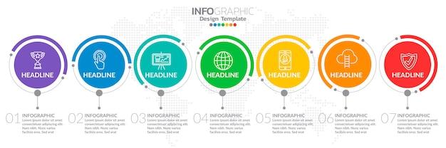 Infografía para el concepto de negocio con los iconos y 7 opciones.