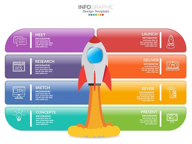 Infografía para el concepto de negocio con los iconos y opciones o pasos.