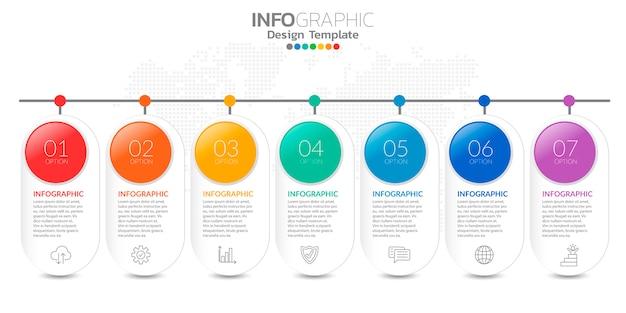 Infografía para el concepto de negocio con iconos y opciones o pasos.
