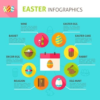 Infografía del concepto de pascua. ilustración de vector de diseño plano de vacaciones de primavera.