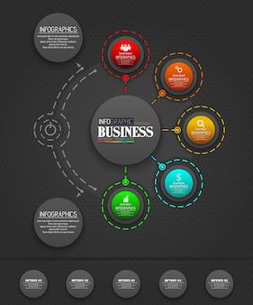 Infografía concepto de plantilla de negocio con 5 opciones